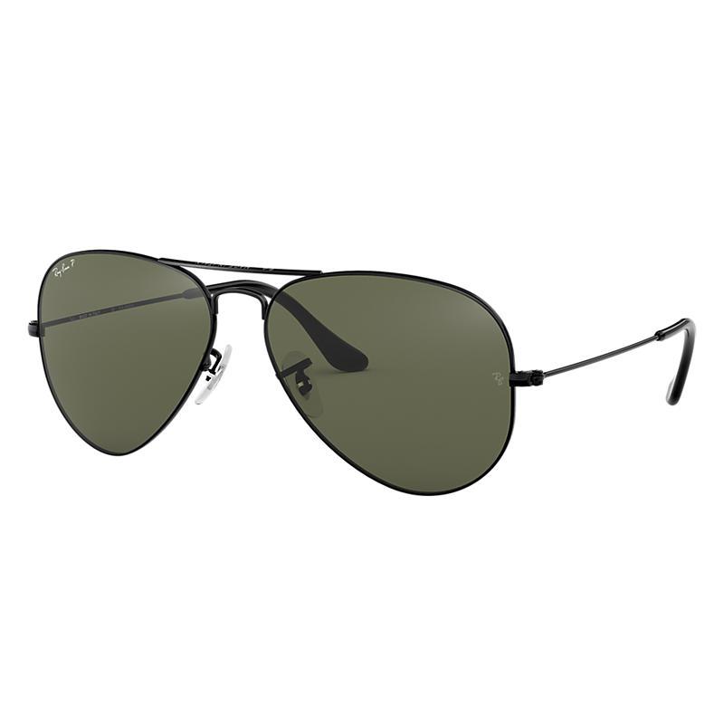 Ray Ban Aviator Classic Black Sunglasses, Polarized Green Lenses Rb3025