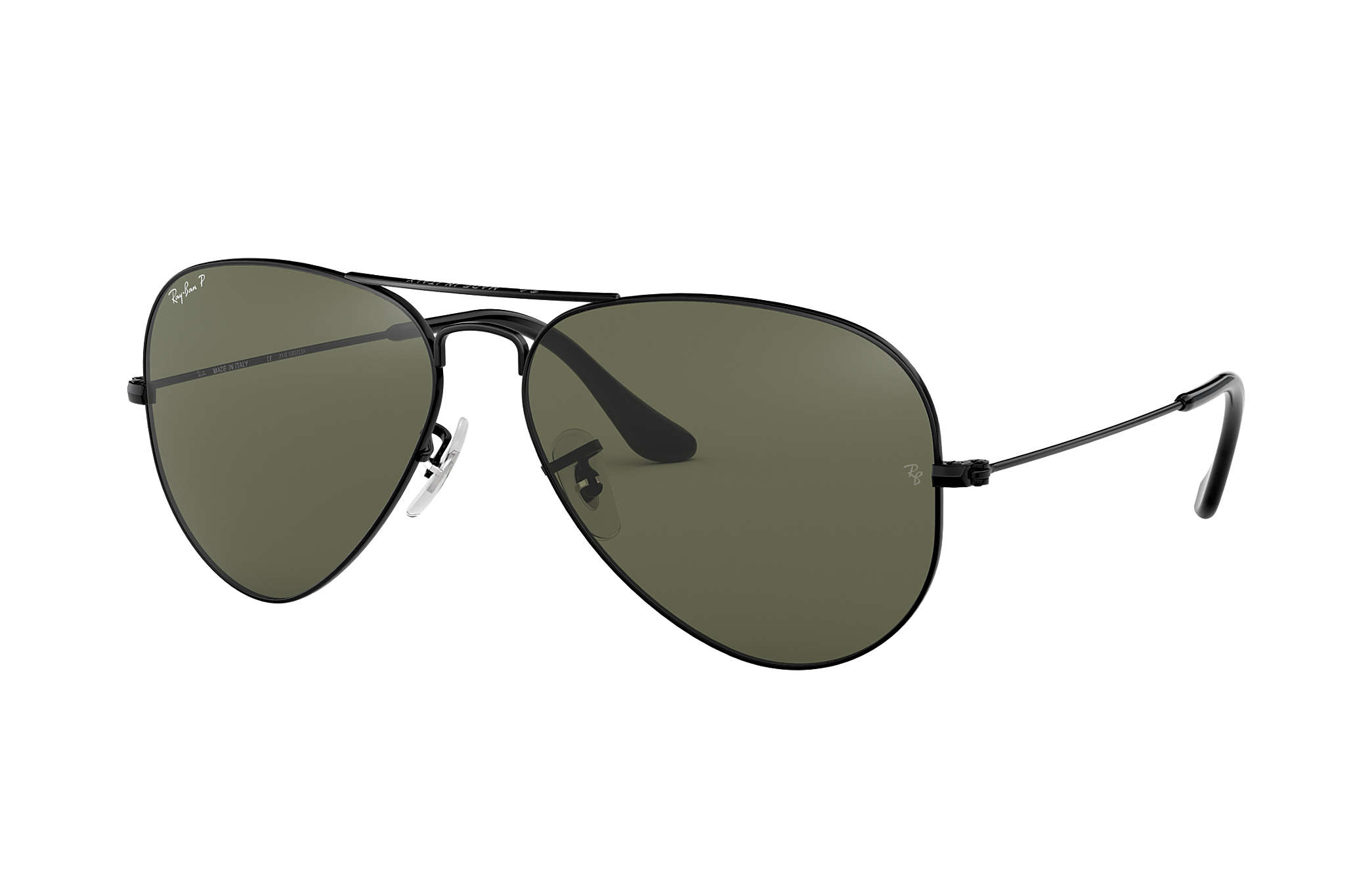 b80844840cd Ray-Ban Aviator Classic RB3025 Black - Metal - Green Polarized ...