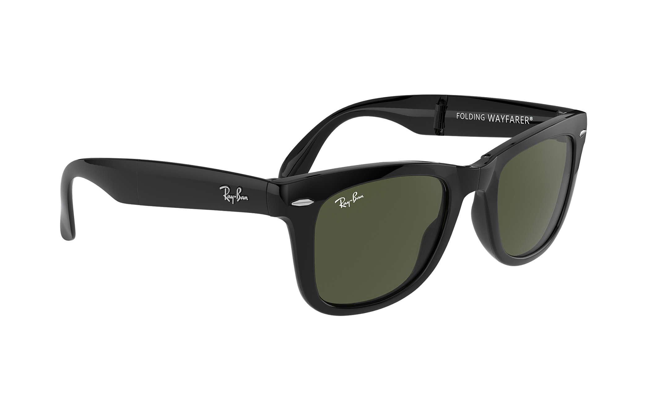 814ec301b11ff Ray-Ban Wayfarer Folding Classic RB4105 Black - Nylon - Green Lenses ...