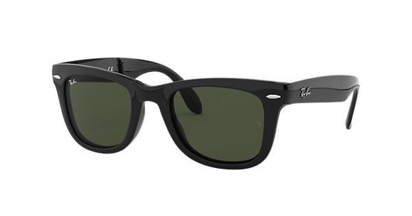 b8c1622c72 Ray-Ban Wayfarer Folding Classic RB4105 Black - Nylon - Green Lenses -  0RB410560150