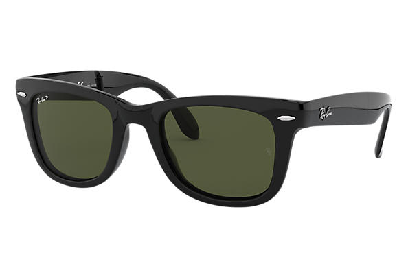172e82102 Ray-Ban Wayfarer Folding Classic RB4105 Black - Nylon - Green Lenses ...