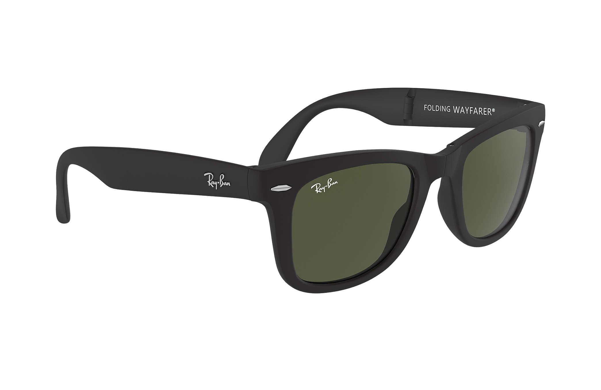 80811c0845 Ray-Ban Wayfarer Folding Classic RB4105 Black - Nylon - Green Lenses ...