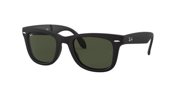 96c79403875bb Ray-Ban Wayfarer Folding Classic RB4105 Black - Nylon - Green Lenses -  0RB4105601S50