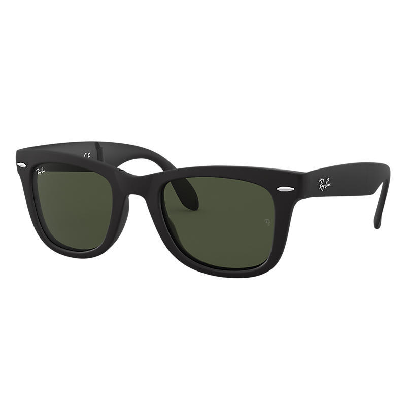 Ray-Ban Wayfarer Folding Classic Black, Green Lenses - RB4105