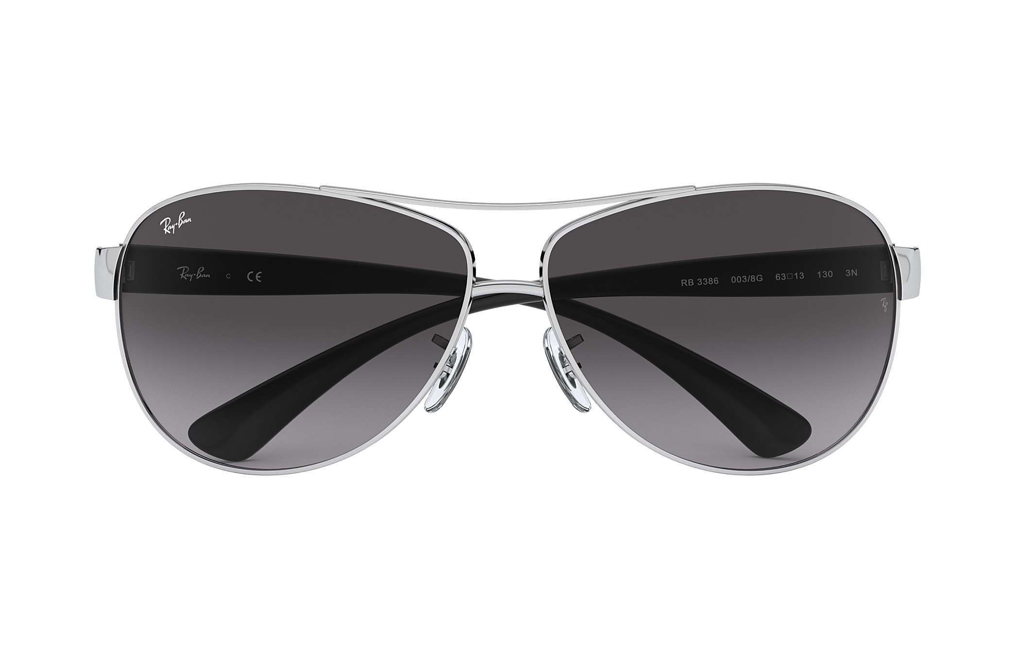 ray ban aviator black silver