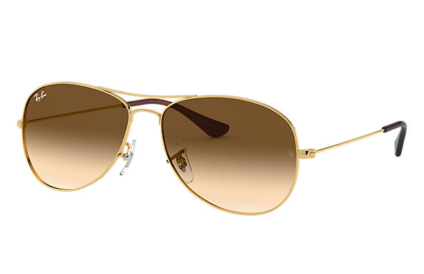 9b7a069f9b Ray-Ban Cockpit RB3362 Gold - Metal - Light Brown Lenses ...