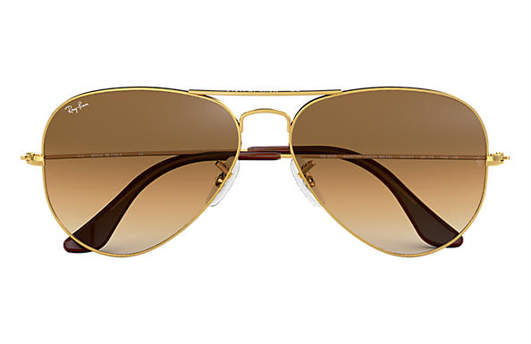 34c5e6c896e85a Ray-Ban Aviator Gradient RB3025 Gold - Metal - Light Brown Lenses ...
