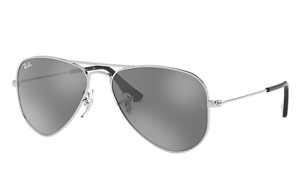 ae06322f2d Ray-Ban Aviator Junior RB9506S Silver - Metal - Grey Lenses ...