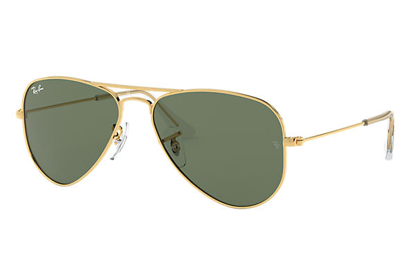 e565f38b40 Ray-Ban Aviator Junior RB9506S Gold - Metal - Green Lenses ...