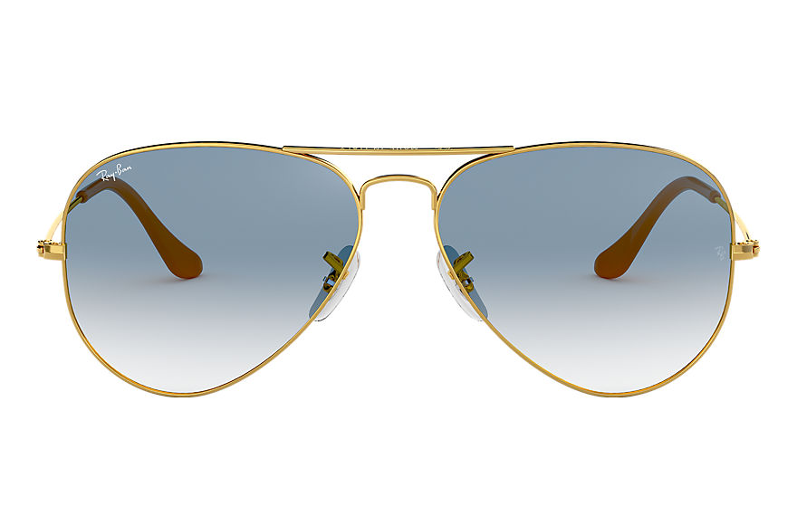 Ray-Ban AVIATOR GRADIENT Dorado con lente Light Blue Degradados