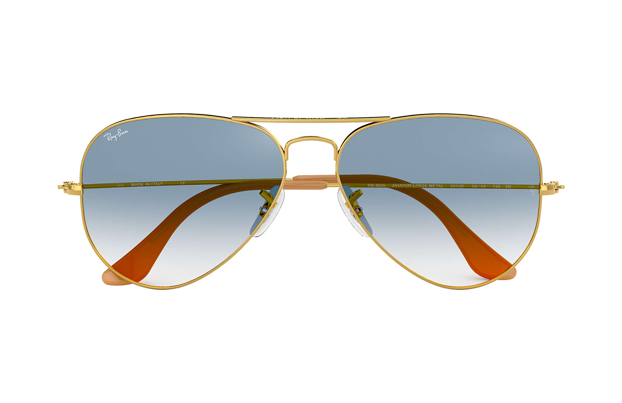 d226a07ae6f3 Ray-Ban Aviator Gradient RB3025 Gold - Metal - Light Blue Lenses ...