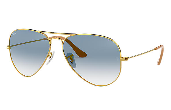 Ray-Ban Aviator Gradient RB3025 Gold - Metal - Light Blue Lenses ... e4fed9e9a1