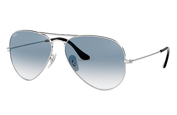 d2b667a78 Ray-Ban Aviator Gradient RB3025 Silver - Metal - Light Blue Lenses ...