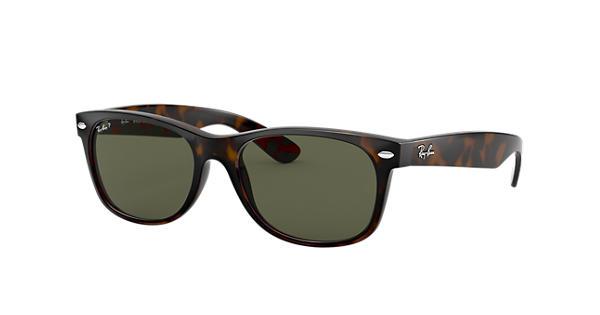 2447de70a9f9c Ray-Ban New Wayfarer Classic RB2132 Tortoise - Nylon - Green Polarized  Lenses - 0RB2132902 5852