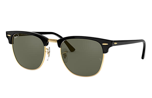 61d81a1825 Ray-Ban Clubmaster Classic RB3016 Black - Acetate - Green Polarized ...