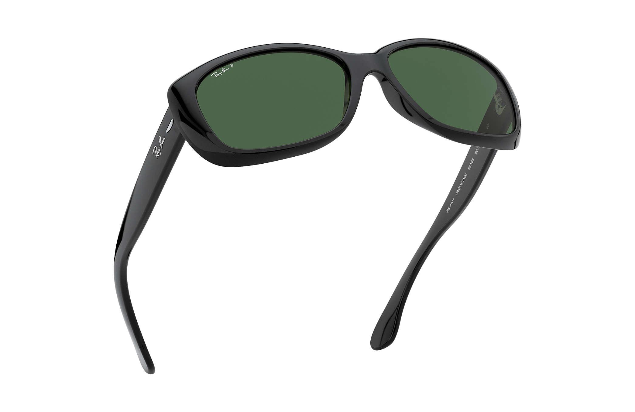 ca954a06eeb Ray-Ban Jackie Ohh RB4101 Black - Nylon - Green Polarized Lenses ...