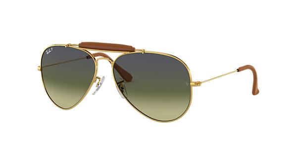 b3a42b39de Ray-Ban Outdoorsman Craft RB3422Q Gold - Metal - Green Polarized Lenses -  0RB3422Q001 M958