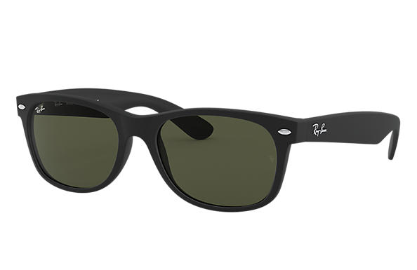 7082477f4cc Ray-Ban New Wayfarer Classic RB2132 Black - Nylon - Green Lenses ...