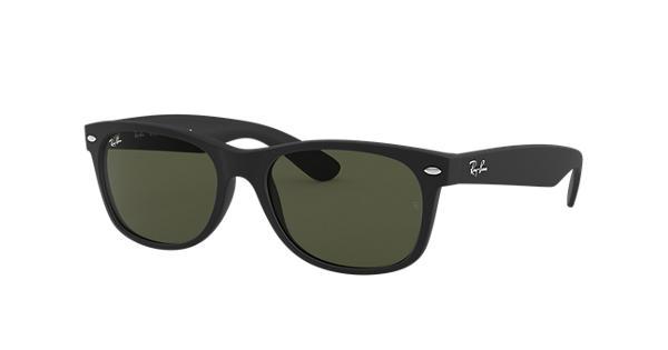 6ffb09b77c Ray-Ban New Wayfarer Classic RB2132 Black - Nylon - Green Lenses -  0RB213262252