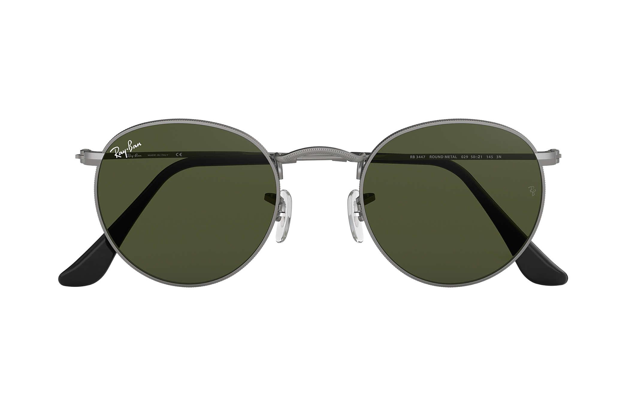 Ray-Ban Round Metal RB3447 Gunmetal - Metal - Green Lenses ... 6a990b2a4d7
