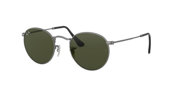690aac3318 Ray-Ban Round Metal RB3447 Gunmetal - Metal - Green Lenses - 0RB344702950