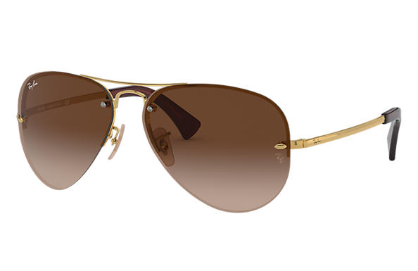 Ray-Ban RB3449 Gold - Metal - Brown Lenses - 0RB3449001 1359   Ray ... 3950893d44