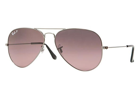46aa990794bc9 Ray-Ban Aviator Gradient RB3025 Gold - Metal - Silver Pink Lenses ...