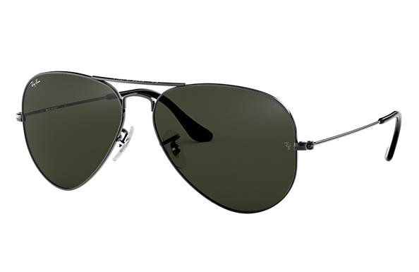 10f28b15560 Ray-Ban Aviator Classic RB3025 Gunmetal - Metal - Green Lenses ...