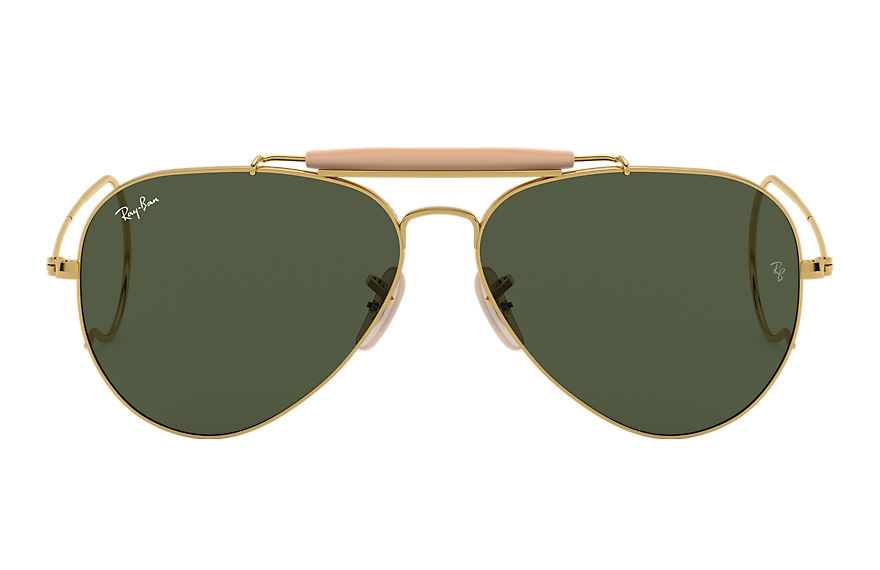 Ray-Ban OUTDOORSMAN Polished Gold with Green Classic G-15 lens