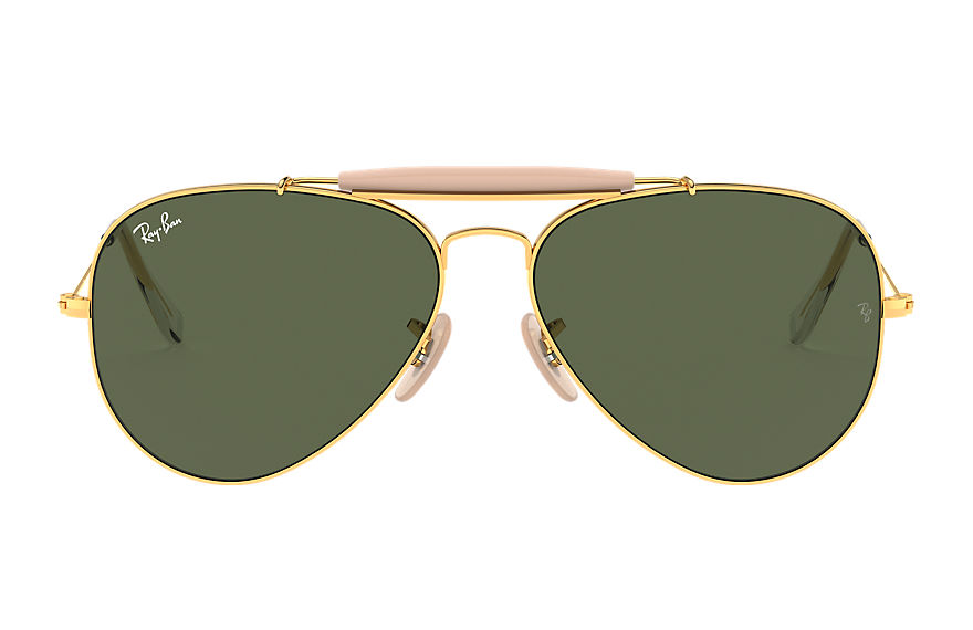 Ray-Ban Sunglasses OUTDOORSMAN II Gold with Green Classic G-15 lens