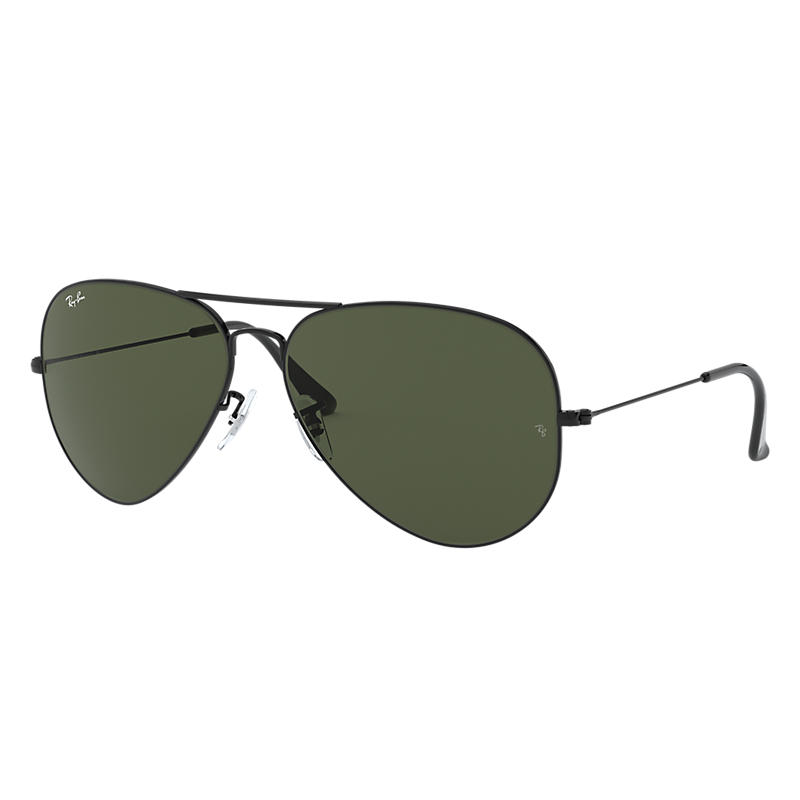 Ray Ban Aviator Classic Black Sunglasses, Green Lenses Rb3026