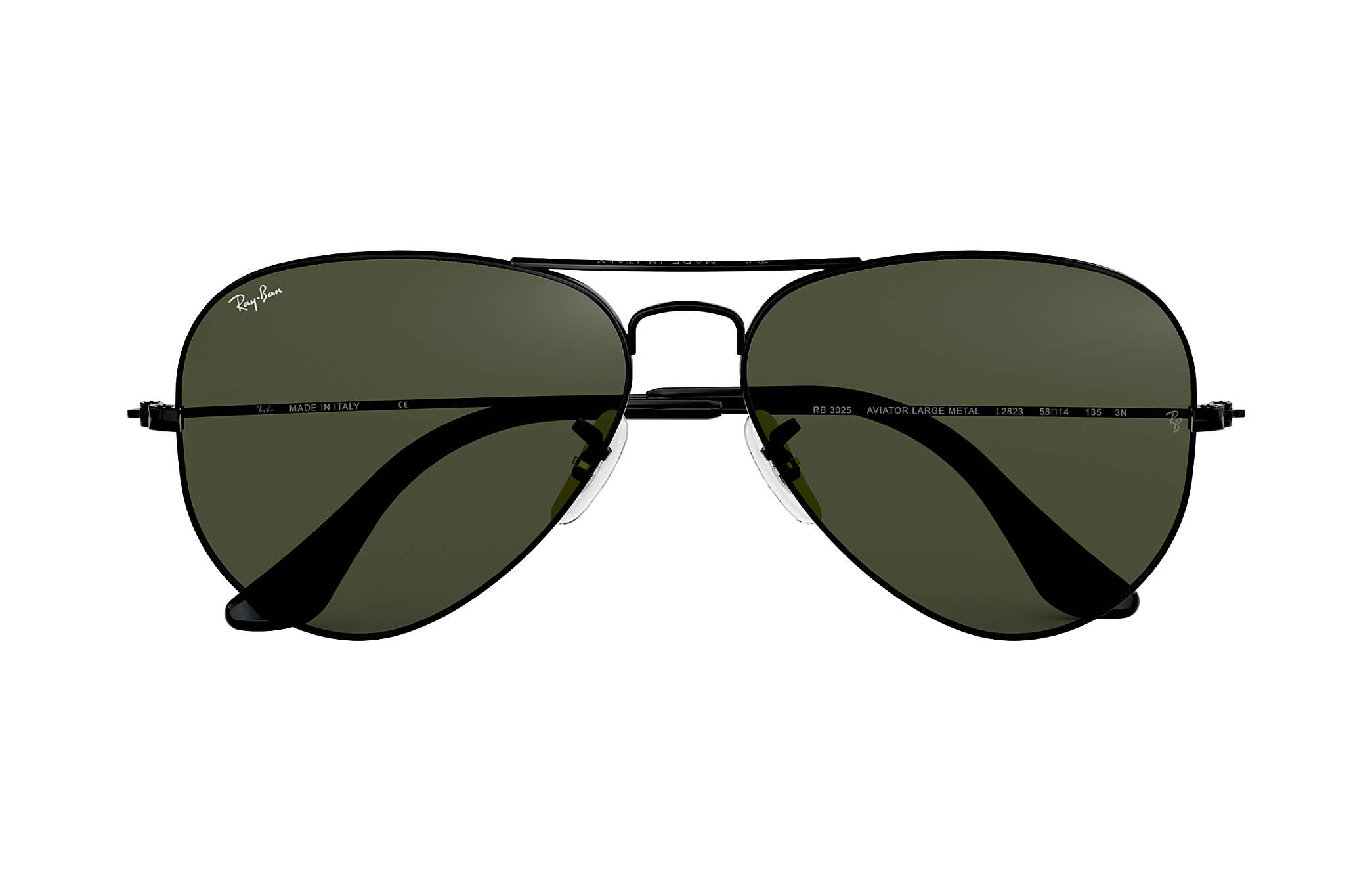 7f59f931fdcca Ray-Ban Aviator Classic RB3025 Black - Metal - Green Lenses ...