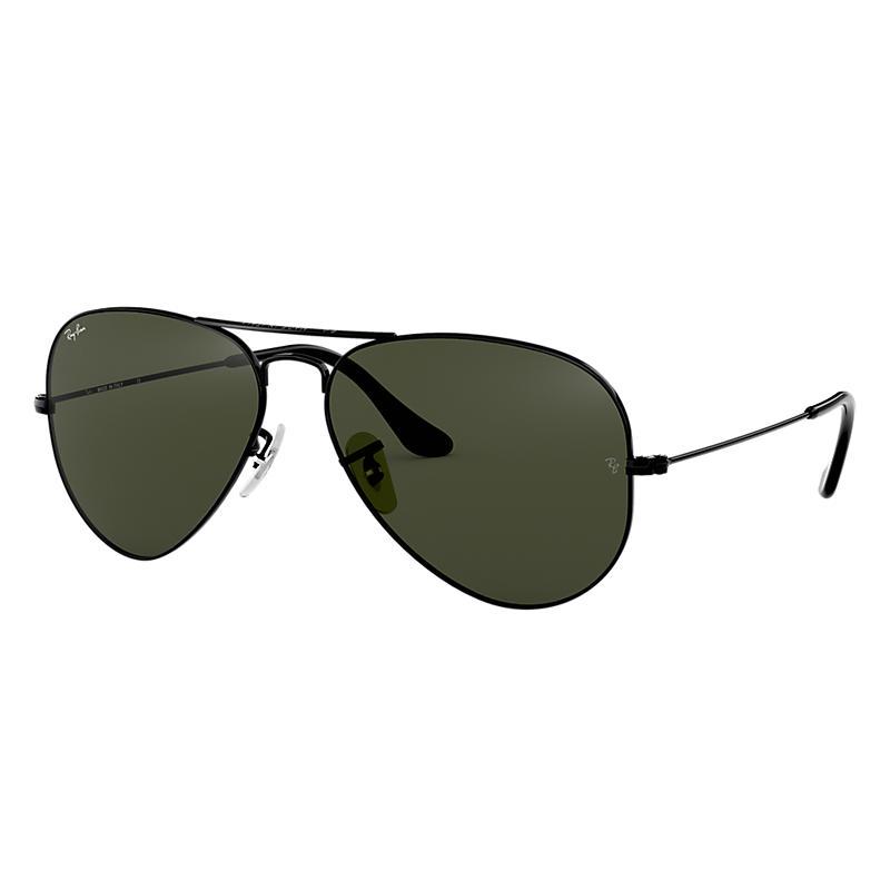 Ray Ban Aviator Classic Black Sunglasses, Green Lenses Rb3025