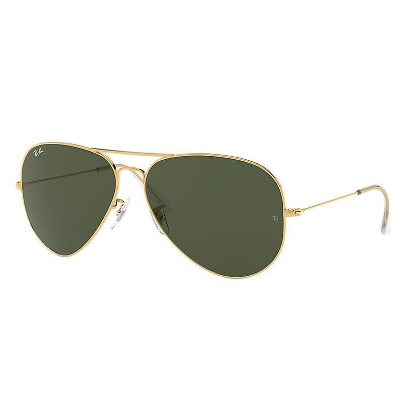 Ray-Ban Aviator Classic Gold Sunglasses, Green Lenses