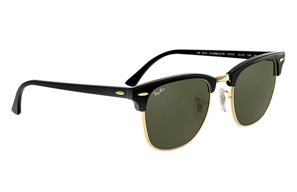 54d05e433 Ray-Ban Clubmaster Classic RB3016 Black - Acetate - Green Lenses ...