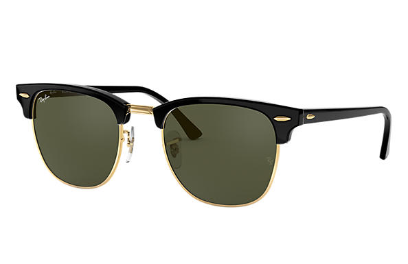 Ray-Ban Sunglasses CLUBMASTER CLASSIC Polished Black with Green Classic G-15 lens
