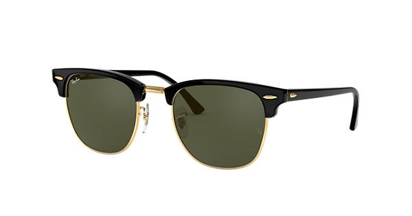 c212d6ec4bf76 Ray-Ban Clubmaster Classic RB3016 Black - Acetate - Green Lenses -  0RB3016W036549