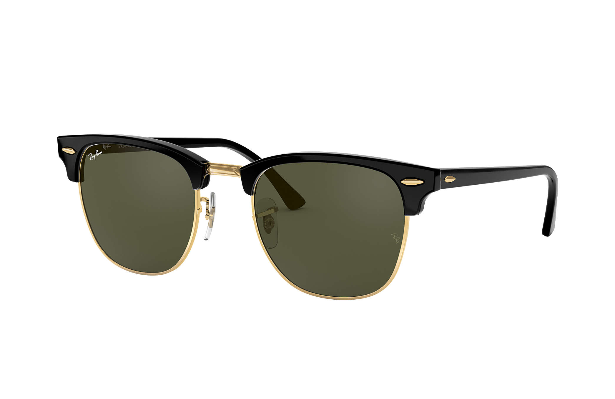 Ray-Ban Clubmaster Classic RB3016 Black - Acetate - Green Lenses ... fa9ea3c271