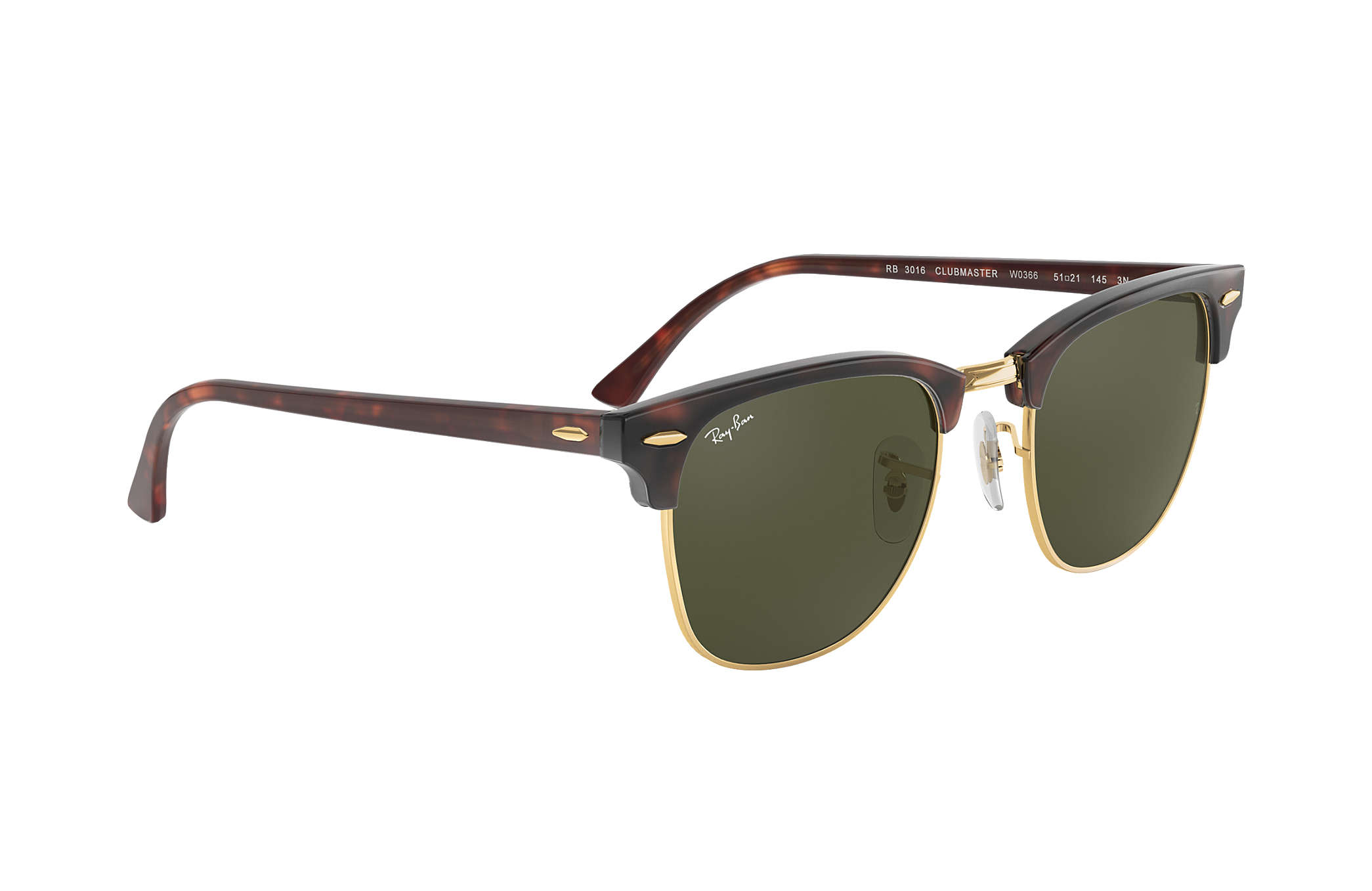02c66638001 Ray-Ban Clubmaster Classic RB3016 Tortoise - Acetate - Green Lenses ...