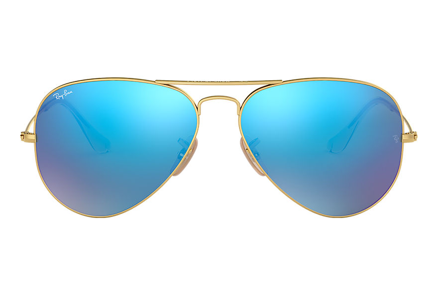 Ray-Ban AVIATOR FLASH LENSES Złoty with Niebieski Flash lens