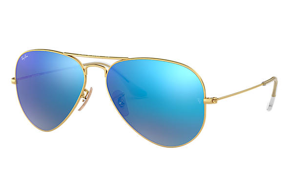 ray ban rb3044 aviator metal blue mirror sunglasses