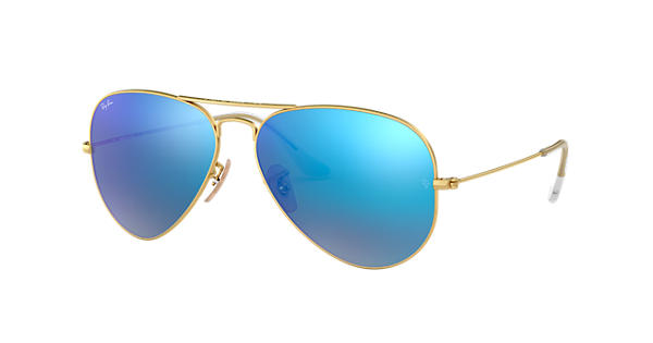 89573bc5d9f Ray-Ban Aviator Flash Lenses RB3025 Gold - Metal - Blue Lenses -  0RB3025112 1758