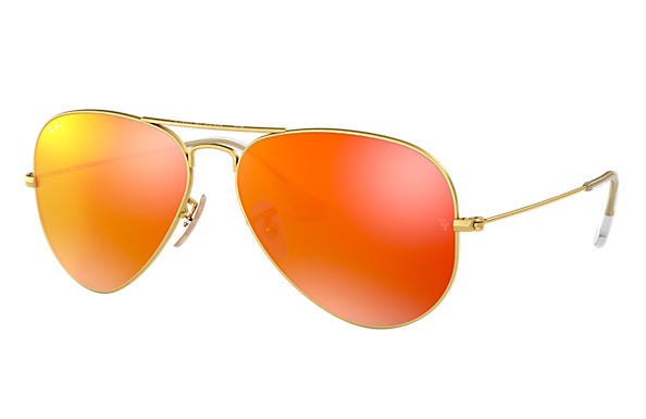 ac043b1817 Ray-Ban Aviator Flash Lenses RB3025 Gold - Metal - Orange Lenses ...