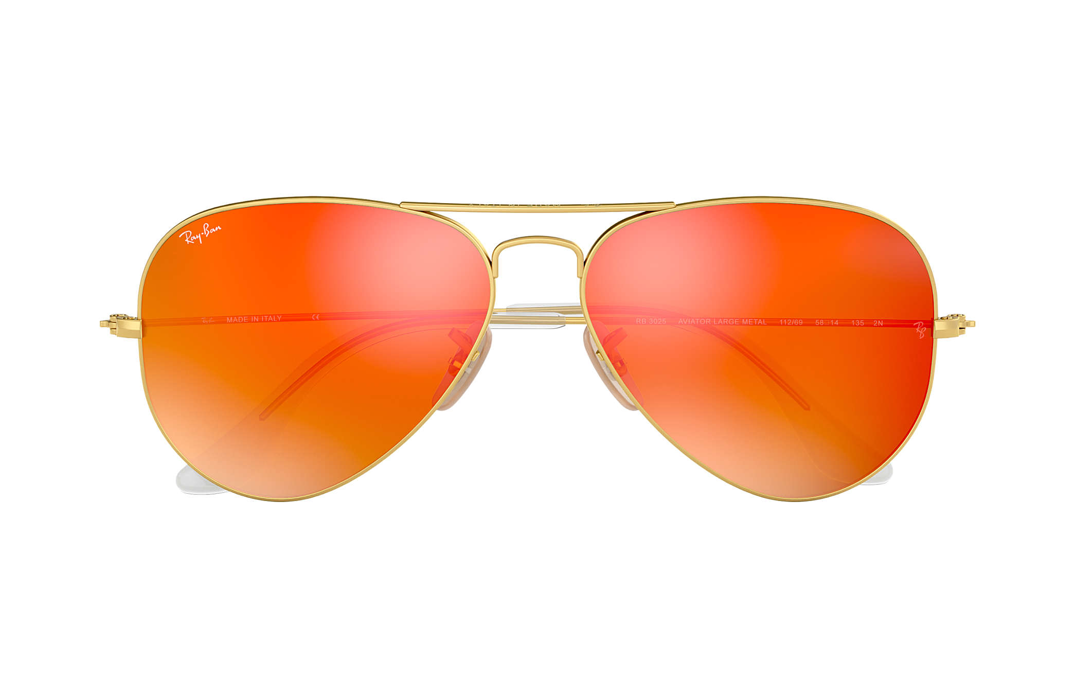 0ff9cfda0da Ray-Ban Aviator Flash Lenses RB3025 Gold - Metal - Orange Lenses ...
