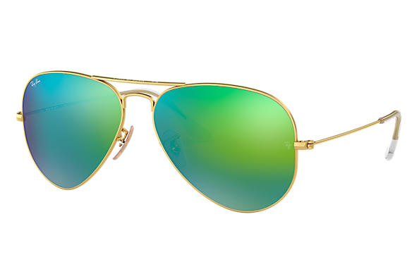 ea27f9b3a8644 Ray-Ban Aviator Flash Lenses RB3025 Gold - Metal - Green Lenses ...