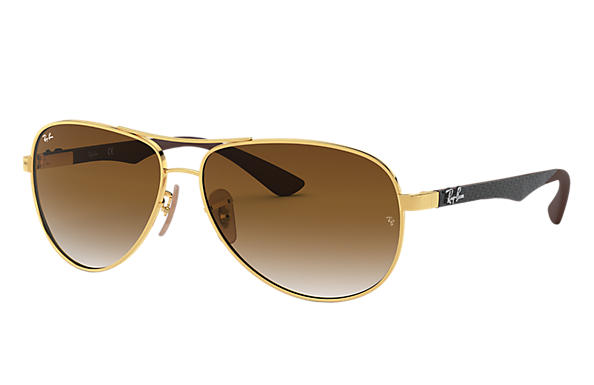 03a9db4d22 Ray-Ban RB8313 Gold - Carbon Fibre - Light Brown Lenses - 0RB8313001 ...