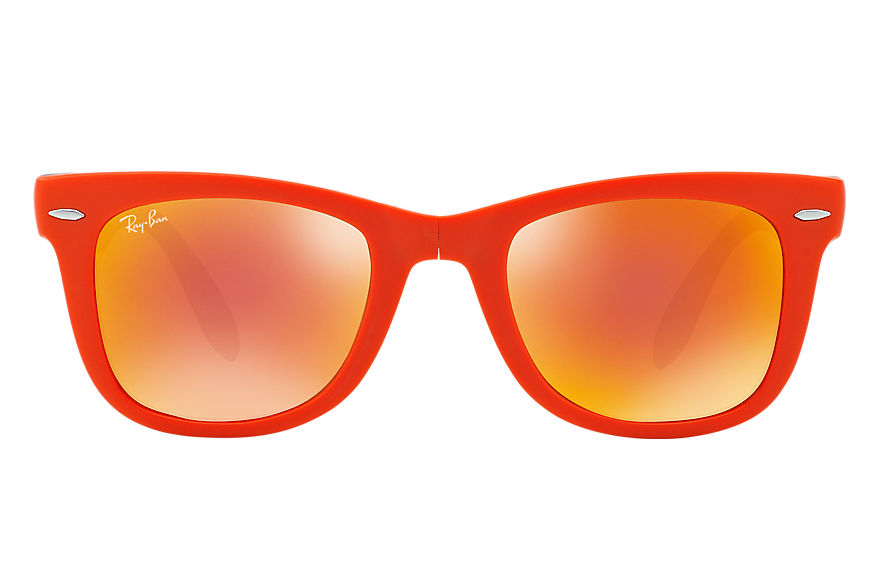 Ray-Ban Sunglasses WAYFARER FOLDING FLASH LENSES Orange with Orange Flash lens