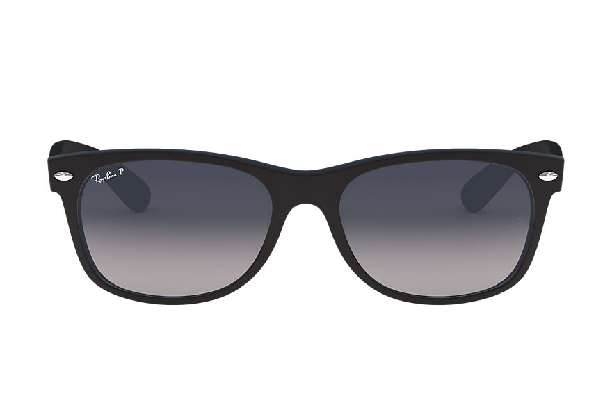 Ray-Ban Sunglasses NEW WAYFARER MATTE LOW BRIDGE FIT Black with Blue/Grey Gradient lens