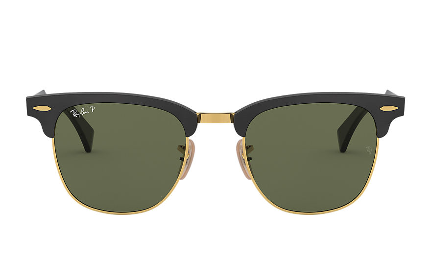Ray-Ban Sunglasses CLUBMASTER ALUMINUM Black with Green Classic G-15 lens