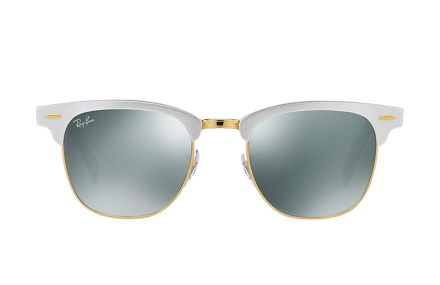 Ray-Ban Sunglasses CLUBMASTER ALUMINUM Silver with Silver Mirror lens